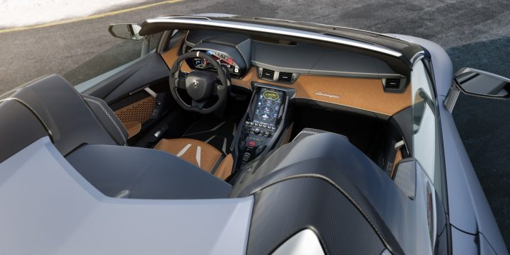 On the inside of the new Centenario Roadster you would find a modern infotainment system with internet, web radio, telemetry and Apple CarPlay. Image credit: media.lamborghini.com.