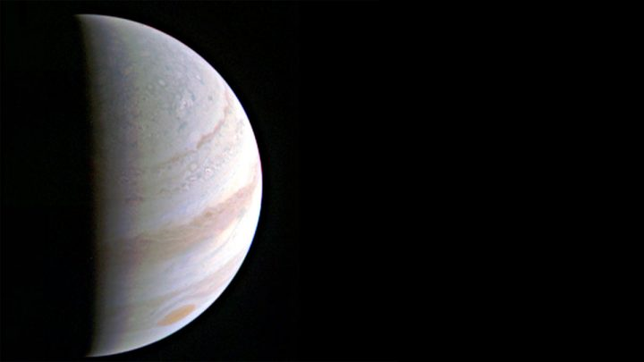 Jupiter's north polar region is coming into view as NASA's Juno spacecraft approaches the giant planet. This view of Jupiter was taken on August 27, when Juno was 437,000 miles (703,000 kilometers) away. Image credit: NASA/JPL-Caltech/SwRI/MSSS