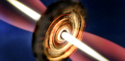 Artist's impression of the disc and outflow around the massive young star. Credit: A. Smith, Institute of Astronomy, Cambridge