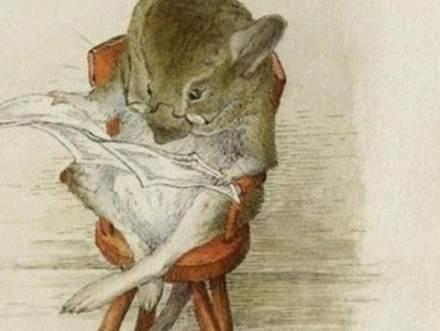 A bespectacled older mouse reads a newspaper in this vintage Beatrix Potter illustration from the late 1800s. Image credit: Beatrix Potter