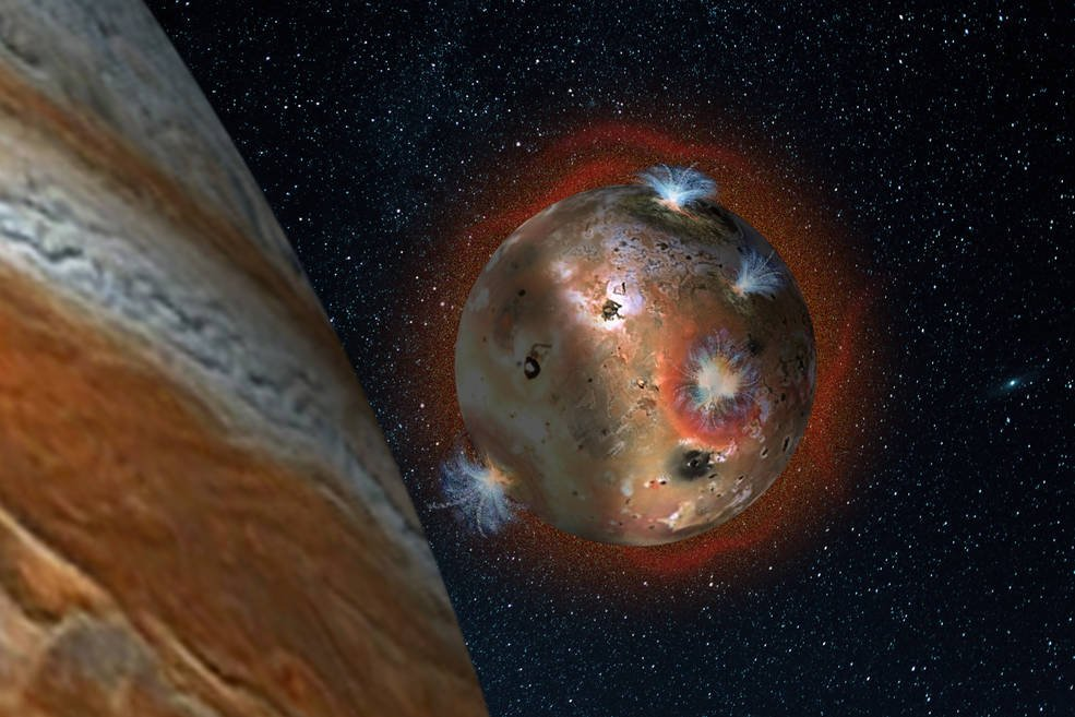 """Artist's concept of the atmospheric collapse of Jupiter's volcanic moon Io, which is eclipsed by Jupiter for two hours of each day (1.7 Earth days). The resulting temperature drop freezes sulfur dioxide gas, causing the atmosphere to """"deflate,"""" as seen in the shadowed area on the left. Credits: SwRI/Andrew Blanchard"""