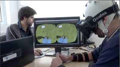A screen grab from a video summarizing the experiment shows a patient learning to use an avatar to walk in virtual reality. Image courtesy of AASDAP/ Lente Viva Filmes