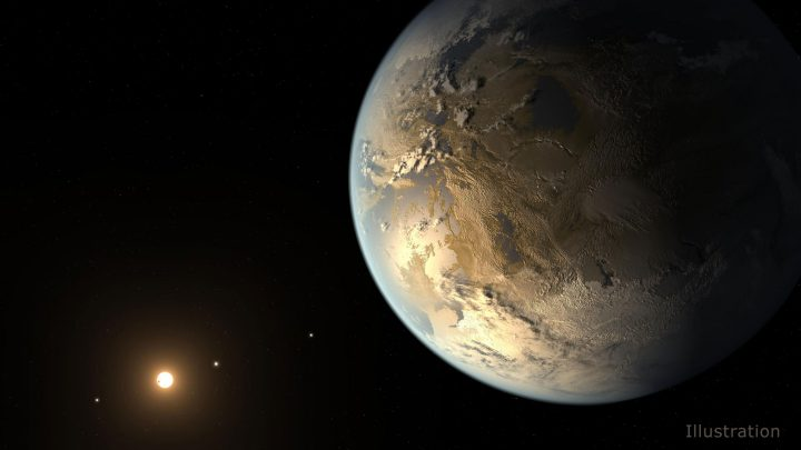 The artistic concept of Kepler-186f is the result of scientists and artists collaborating to imagine the appearance of these distant worlds. Image credit: NASA Ames/SETI Institute/JPL-Caltech