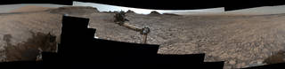 """This 360-degree vista was acquired on Aug. 5, 2016, by the Mastcam on NASA's Curiosity Mars rover as the rover neared features called """"Murray Buttes"""" on lower Mount Sharp. The dark, flat-topped mesa seen to the left of the rover's arm is about 50 feet high and, near the top, about 200 feet wide. Credits: NASA/JPL-Caltech/MSSS"""