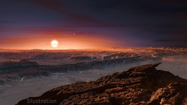 This artist's impression shows a view of the surface of the planet Proxima b orbiting the red dwarf star Proxima Centauri, the closest star to the solar system. The double star Alpha Centauri AB also appears in the image. Credit: ESO/M. Kornmesser