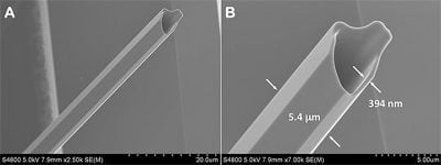 These potassium diphosphate (KDP) crystals, which self-assemble in solution as hollow hexagonal rods, could find use in laser technology, particularly for fiber-optic communications. The scanning-electron image at right shows a crystal at higher resolution with scale added. Image credit: L. Deng / NIST