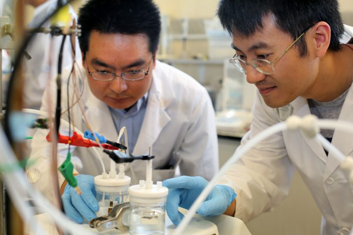 Now, thanks to nanoengineering, scientists can convert CO2 from the atmosphere to CO, which can be used to make fuel, but in the future they want to use the process to make useful fuel directly. Image credit: utoronto.ca.