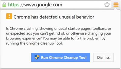 An example of a security message, the Chrome Cleanup Tool.