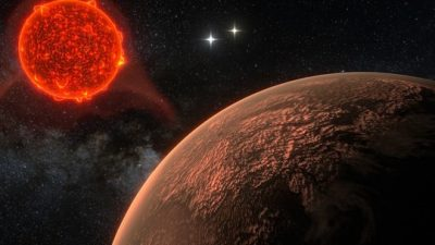 Glimpse of a new world: artist's impression of the newly discovered planet orbiting Proxima Centauri, at a distance of 4.24 light-years the fixed star nearest to Earth. Credit:  Ricardo Ramirez & James Jenkins (Department of Astronomy, Universidad de Chile)