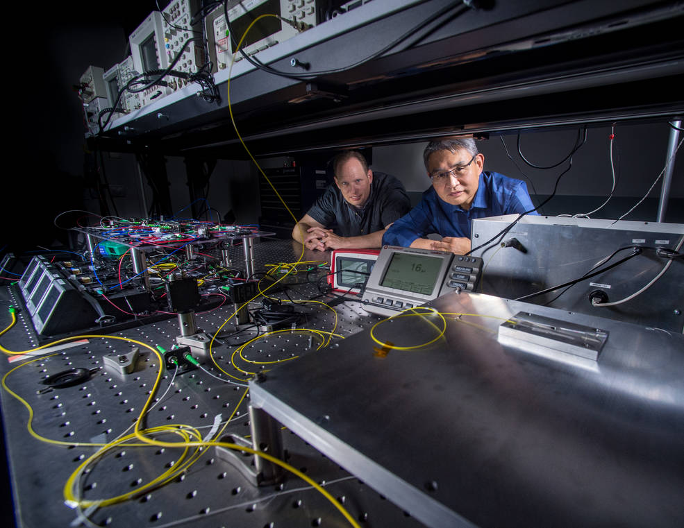 Mark Stephen (left) and Tony Yu are part of the team, including Jeffrey Chen (not pictured), who developed the advanced laser system used on the CO2 Sounder Lidar. Credits: NASA's Goddard Space Flight Center/Bill Hrybyk Engineers and scientists at NASA's Goddard Space