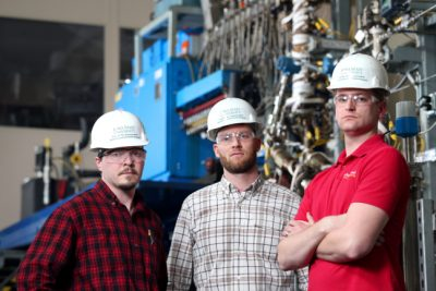 Lysle Whitmer, Ryan Smith and Martin Haverly, left to right, led the development of a pilot plant as part of a joint biofuels project with Chevron U.S.A. Photo by Christopher Gannon.