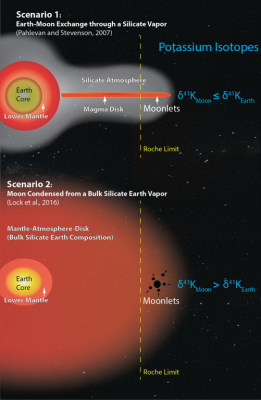 Two recent models for the formation of the moon, one that allows exchange through a silicate atmosphere (top), and another that creates a more thoroughly mixed sphere of a supercritical fluid (bottom), lead to different predictions for potassium isotope ratios in lunar and terrestrial rocks (right). Illustration: Kun Wang