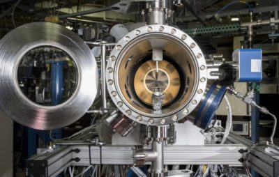 A view inside the experimental chamber used in a chemistry experiment at Berkeley Lab's Advanced Light Source. Researchers used 'tender' X-rays to explore a nanometers-thick region known as the electrochemical double layer at ALS Beam Line 9.3.1. Image credit: Marilyn Chung