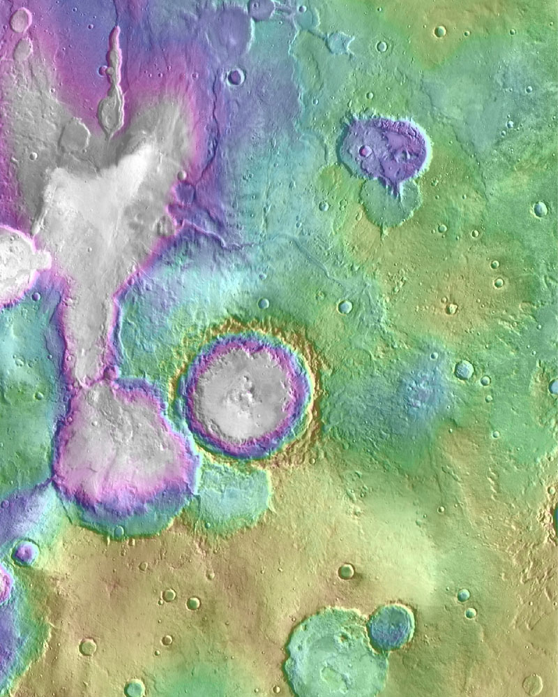 """Valleys much younger than well-known ancient valley networks on Mars are evident near the informally named """"Heart Lake"""" on Mars. Image credit: NASA/JPL-Caltech/ASU"""