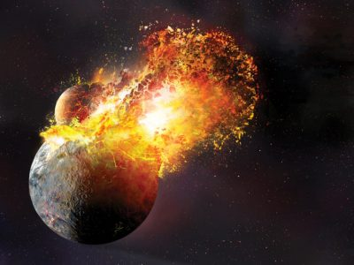 Planetary smackdown: An artist's conception of the giant impact that created Earth's moon. New research suggests the impact was even more violent than this image suggests. Illustration: Dana Berry/SwRI