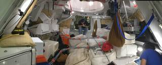 The crew will use stowage bags on board Orion during missions to deep space to create a dense shelter. Credits: NASA