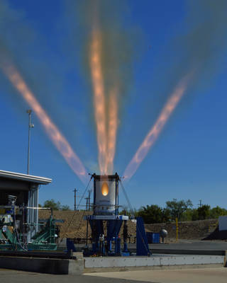 The jettison motor being tested in the photo above would be activated during ascent to separate the launch abort system from the spacecraft after it is no longer needed during a mission. Credits: Aerojet Rocketdyne
