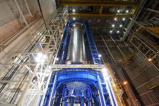 Engineers just completed welding the liquid hydrogen tank that will provide fuel for the first SLS flight in 2018. The tank measures more than 130 feet tall, comprises almost two-thirds of the core stage and holds 537,000 gallons of liquid hydrogen -- which is cooled to minus 423 degrees Fahrenheit. Credits: NASA/Michoud/Steven Seipel
