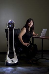 """""""Every year, large numbers of K-12 students are not able to go to school due to illness, which has negative academic, social and medical consequences,"""" says UCI doctoral student Veronica Newhart, lead author of a study on the benefits of telepresence robots, such as the one shown."""