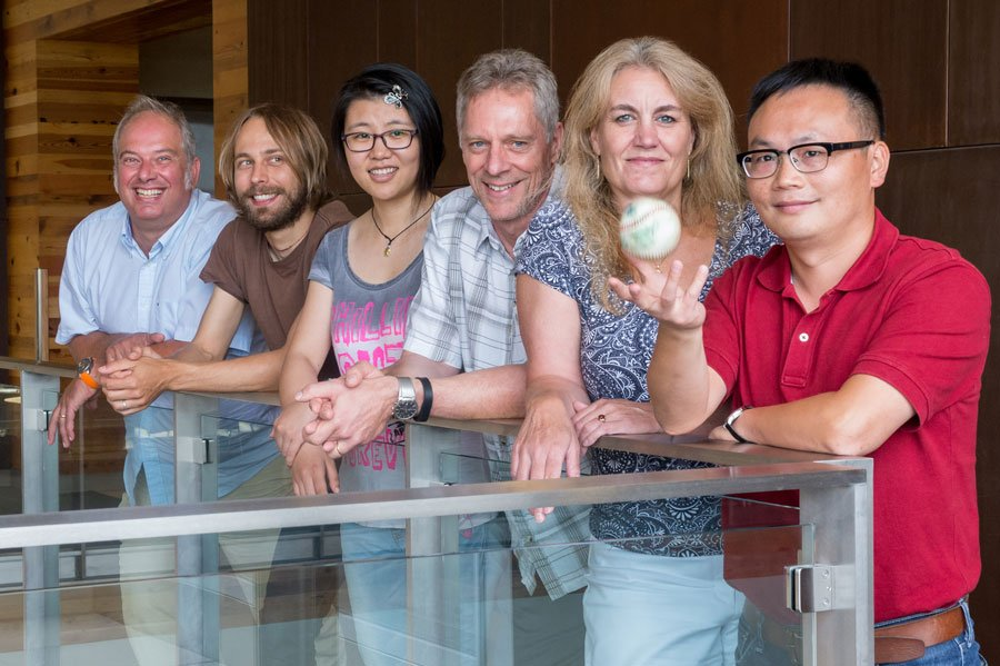 A new study by Argonne researchers determined that magnetic skyrmions – small electrically uncharged circular structures with a spiraling magnetic pattern – do get deflected by an applied current, much like a curveball getting deflected by air. (Photo by Mark Lopez, Argonne National Laboratory)