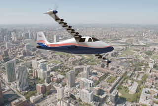 An artist's concept of NASA's X-57 Maxwell aircraft shows the plane's specially designed wing and electric motors. The X-57 is intended to demonstrate that electric propulsion can make planes quieter and more efficient and environmentally friendly. Credits: NASA Langley / Advanced Concepts Lab, AMA Inc.