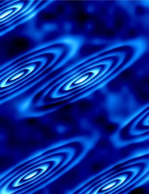 """Strange electron orbits form on the surface of a crystal in this image created using a theoretical data model. These orbits correspond to the electrons being in different """"valleys"""" of states, yielding new insights into an area of research called """"vallytronics,"""" which seeks replacements for silicon in future electronics."""