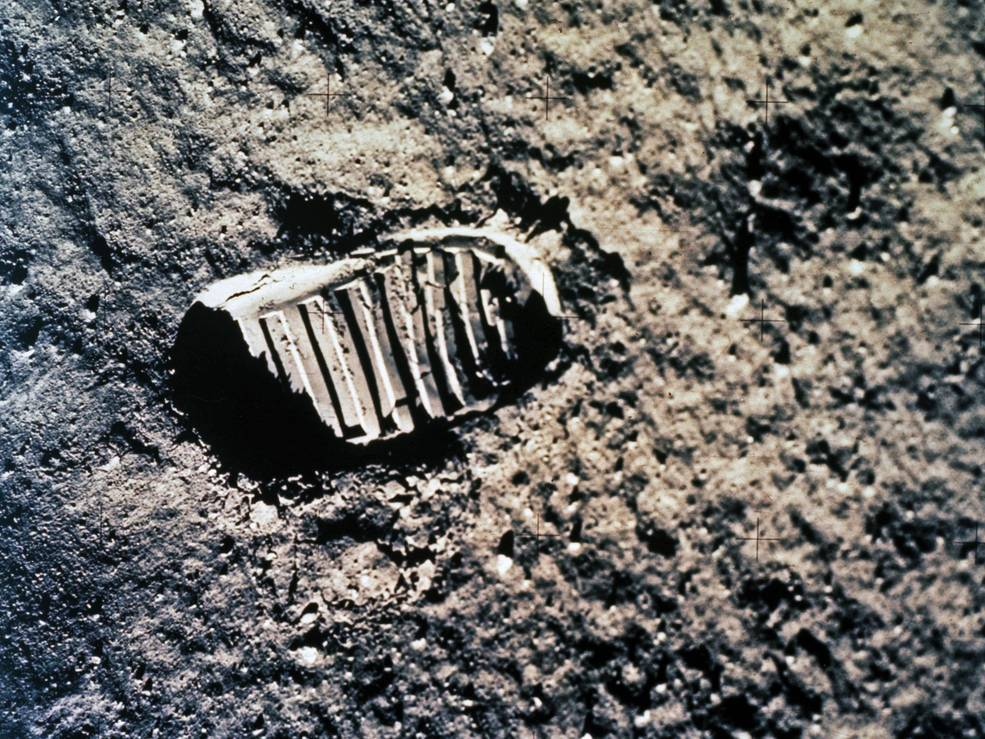 One of the first steps taken on the Moon, this is an image of Buzz Aldrin's bootprint from the Apollo 11 mission. Neil Armstrong and Buzz Aldrin walked on the Moon on July 20, 1969. Credits: NASA