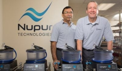From left to right, Brij M. Bansal, vice president of operations, and CEO Joseph L. Priest, both of Nupur Technologies LLC. Image credit: Douglas Levere, University at Buffalo.