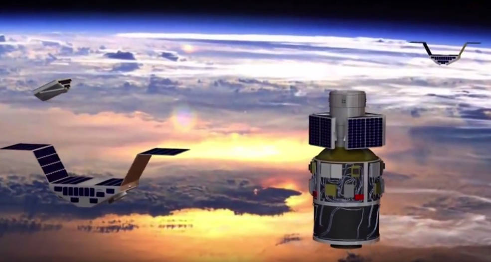 The primary science goal of Cyclone Global Navigation Satellite System (CYGNSS) is to better understand how and why winds in hurricanes intensify. CYGNSS is a unique satellite mission that consists of a constellation of eight small satellites. Credits: NASA