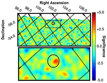 Discovery of the gamma-ray counterpart to FRB 131104, in wide-angle and zoomed-in views of Swift gamma-ray data. The black circle indicates the area of the sky that Parkes Observatory was observing when it detected FRB 131104. Within the circle there is a single prominent red peak, the signal of the gamma-ray counterpart. Colors in the image indicate the signal-to-noise level at each position; the counterpart's signal-to-noise level is 4.2. The Swift exposure was taken over 300 seconds starting 7 seconds before FRB 131104. While the wide-field image is only a small portion of Swift's very large field of view, it is large enough to fit eight full moons lined up from top to bottom of the image. Credit: J. J. DeLaunay, Penn State University.