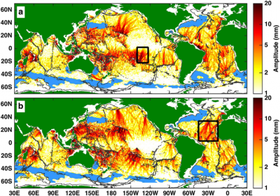 Internal tides seen in sea surface height satellite data recorded from 1992 to 2012. Figures show (a) northbound and (b) southbound waves. The blue patches are places where the data was inconclusive. Black boxes are example regions used in the analysis. Image credit: Zhongxiang Zhao/University of Washington