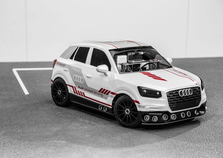 1:8 scale Q2 has the latest sensor technology, allowing it to effectively search for a suitable parking spot. Image credit: audi-mediacenter.com.
