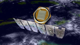 An artist's rendition of the AIM spacecraft in orbit above Earth. Credits: NASA