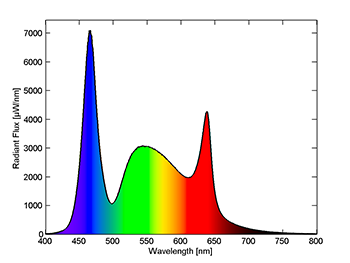The two diagrams show the spectral distribution of the light sources in the two demo boxes. The top diagram shows the cold white light, where the blue hues are dominant, while the bottom diagram shows the spectral distribution of the warm white light. Here, it is clear that the red hues are dominant. Image credit: DTU Fotonik/Carsten Dam-Hansen.