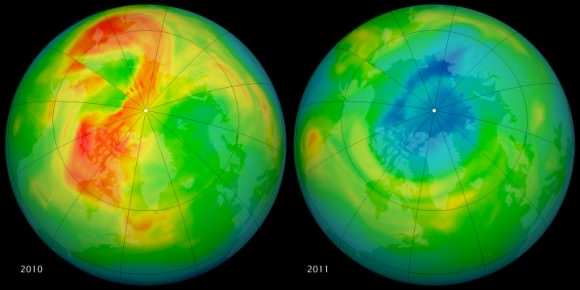 ozone hole difference