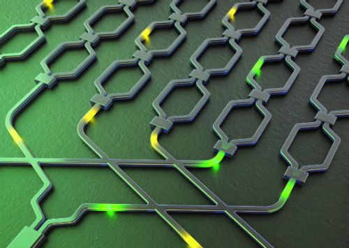 Artist's illustration of the chip. Tracks called waveguides guide photons in silicon, much like an optical fibre. Spirals of these waveguides are used to generate photons (quantum particles of light) that are then routed around the processor circuit to perform different tasks. Image credit: Xiaogang Qiang/University of Bristol