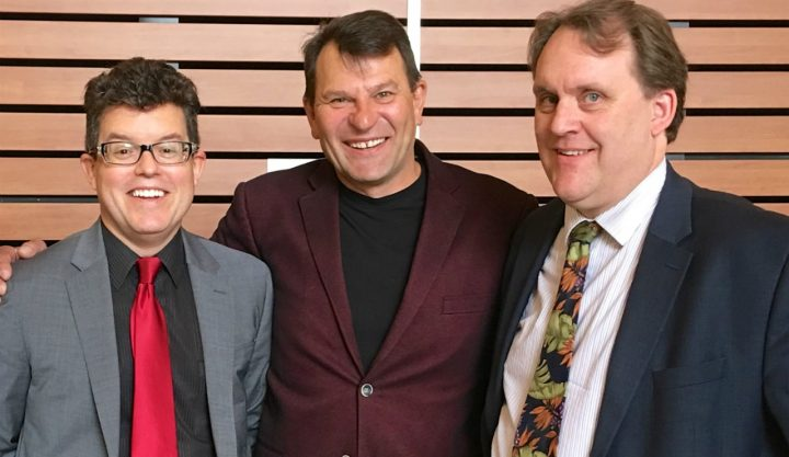 (From left) John Mackey and U of A colleagues James Stewart and Neal Davies designed and tested the SMHeartCard, a pocket-sized holder containing two potentially life-saving medications for people suffering a heart attack. (Photo: Supplied / University of Alberta)