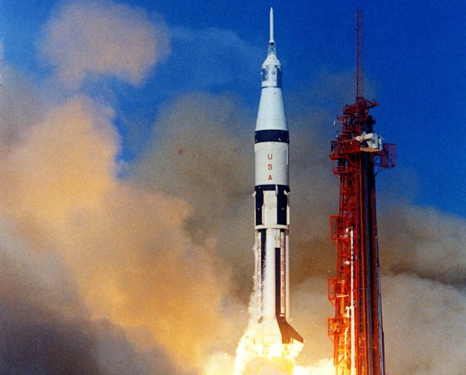 Apollo 7 lifts off from Cape Kennedy (now Cape Canaveral) Air Force Station's Launch Complex 34 on Oct. 11, 1968. It was the first of several piloted flights designed to qualify the spacecraft for the half-million-mile round trip to the Moon. Credits: NASA