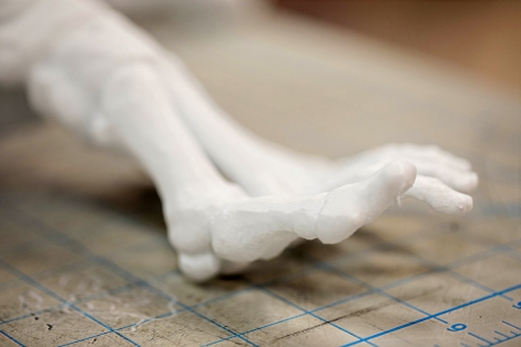 A 3D model of a skeletal foot sits on the instruction table during an Anatomy 3-D Printing class. The model is one of many UCSF uses to teach Physical Therapy students how to generate 3D printed models from CT scans. Photo by Susan Merrell / UCSF