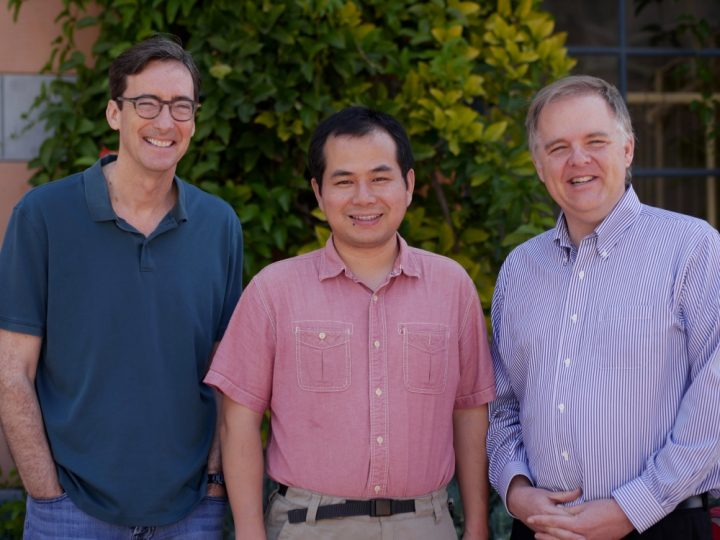 UCSB and KITP scholars, from left, Omer Blaes, Yan-Fei Jiang and Lars Bildsten. Photo Credit:  Craig Kunimoto, UCSB