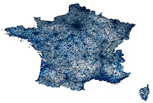 Map of France shows the density of twitter activity at the commune level (that's about two levels below counties and there are about 30,000 of them in France) during the 2017 elections.