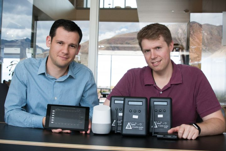 University of Utah School of Computing assistant professor Jason Wiese (left) and computing doctoral student Jimmy Moore conducted a study to determine if homeowners change the way they live if they could visualize the air quality in their house. They provided participants air pollution sensors, a Google Home speaker and a tablet to measure and chart the air quality in their homes. Photo credit: Dan Hixson/University of Utah College of Engineering.
