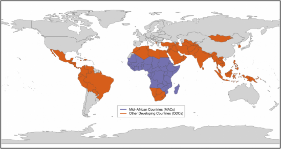 Pictured are the two groups of countries Murdoch and his team looked at. Image credit: Plos one/Bill Murdoch/UCSB