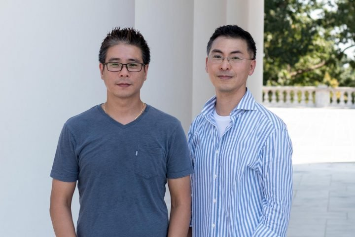Researcher Kwon-Sik Park, right, and colleague Dong-Wook Kim of UVA's Department of Microbiology, Immunology and Cancer Biology created a new model with multiple mutations causing cancer. (UVA School of Medicine photo)