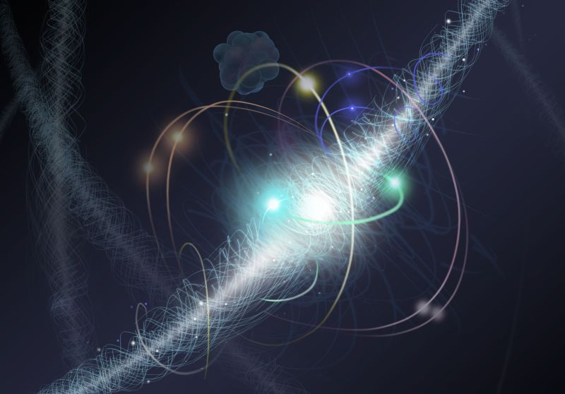 In this artist's representation, an electron orbits an atom's nucleus, spinning about its axis as a cloud of other subatomic particles are constantly emitted and reabsorbed. Some theories in particle physics predict particles, as yet undetected, that would cause the cloud to appear very slightly pear-shaped when seen from a distance. With the support of the National Science Foundation, ACME researchers created an experimental setup look at that shape with extreme precision. To the limits of their experiment, they saw a perfectly round sphere, implying that certain types of new particles, if they exist at all, have properties different from those theorists expected. Image credit: Nicolle R. Fuller, NSF