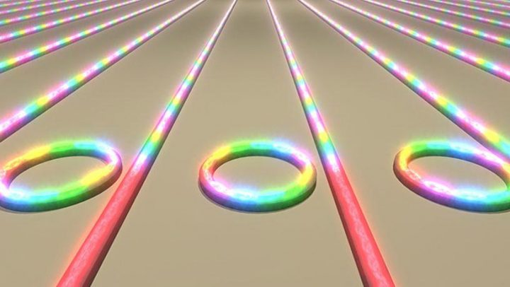 Illustration showing an array of microring resonators on a chip converting laser light into frequency combs. Image credit: Brian Stern/Columbia Engineering