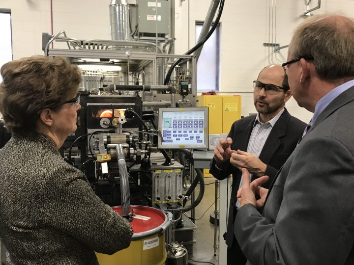 NASA works with industry partner Nanocomp Technologies Inc. of Merrimack, New Hampshire, to advance manufacturing of carbon nanotube composite materials. On Oct. 29, NASA visited Nanocomp's facility to discuss next steps for this technology. Credits: NASA