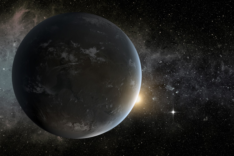 An artist's concept of a super-Earth in the habitable zone of a star smaller and cooler than the sun. Such large planets could have long-lasting magma oceans that generate magnetic fields capable of protecting incipient life. The graphic was created to model Kepler-62f, one of many exoplanets discovered by NASA's now inoperable Kepler space telescope. Image credit: ASA Ames/JPL-Caltech/Tim Pyle