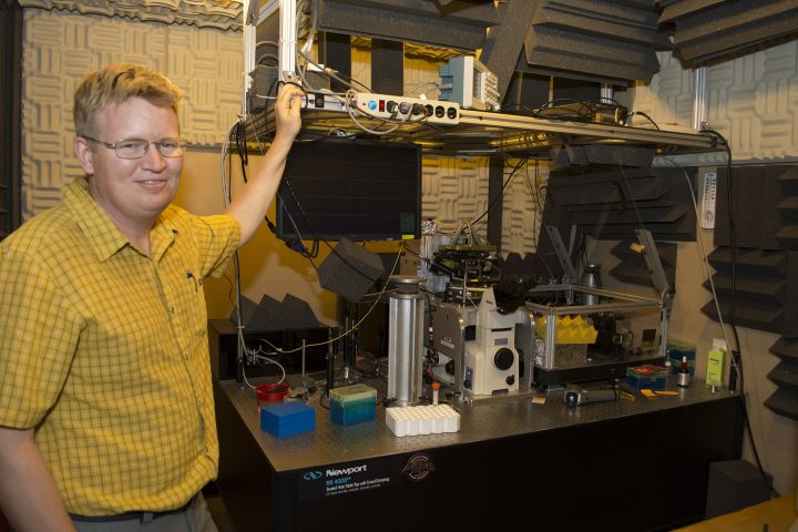 Gavin King and a team of University of Missouri researchers are one step closer to understanding cell behavior with the help of a specialized microscope.