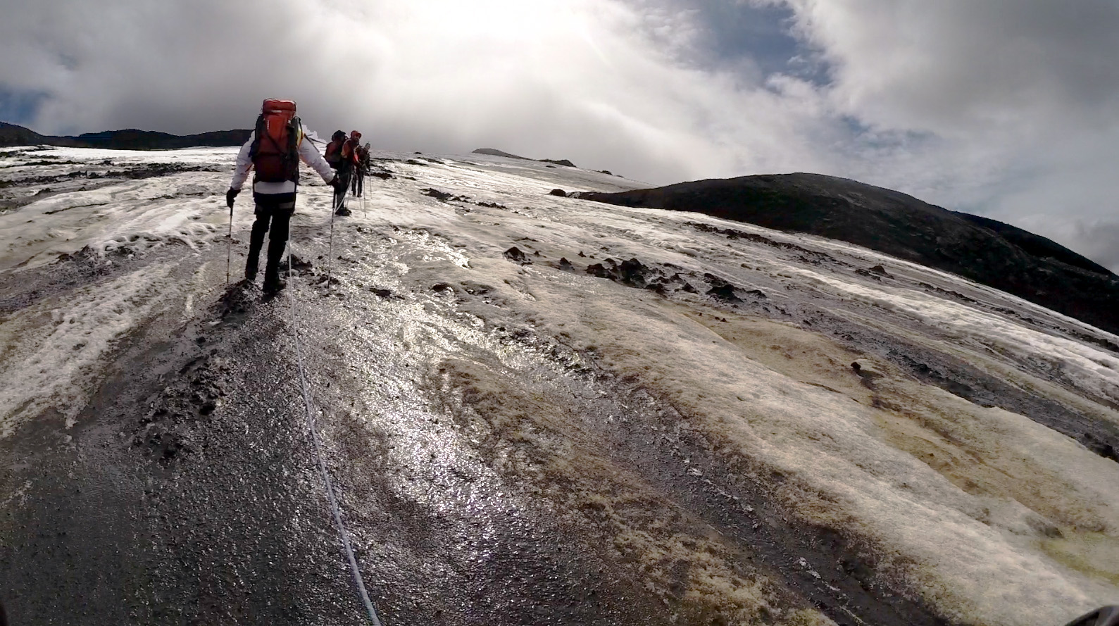 NASA Goddard scientists, in summer 2018, climb to a geothermal site on Kverkjokull glacier. Credit: Molly Wasser / NASA Goddard